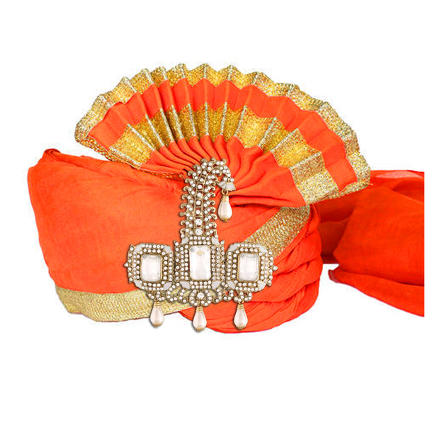 Gold Plated Indian Traditional Handcrafted Embellished With White Stone Safa Kalangi for Groom Men (SM56W)
