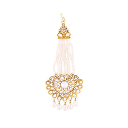 Traditional Gold Plated Kundan & Pearl Passa Tikka for Women T1075W (White)