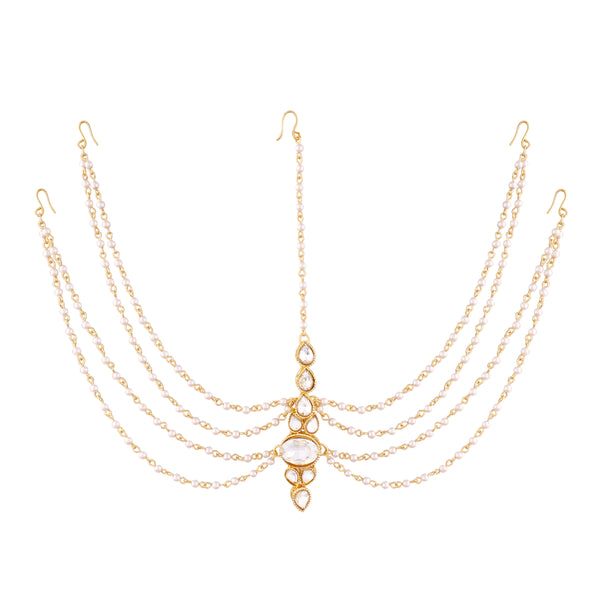 Traditional Pearl & Stone Mathapatti Maang Tikka for Women T1082W (White)