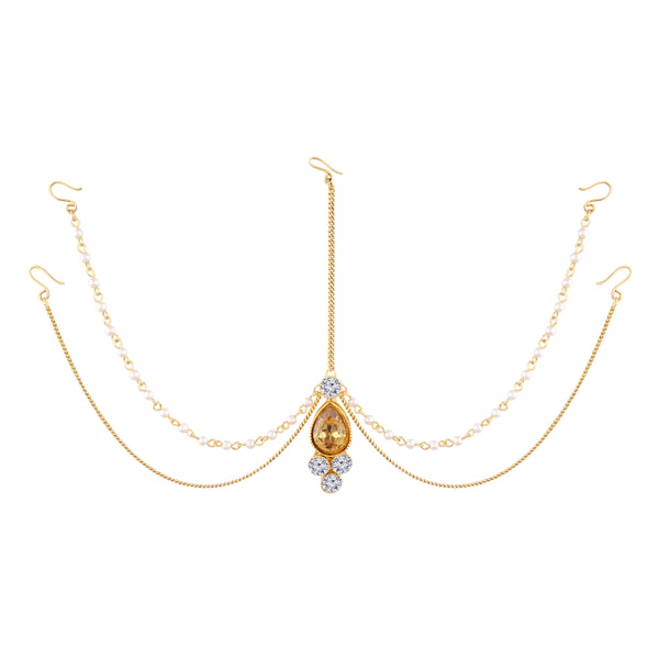 Traditional Pearl & Stone Mathapatti Maang Tikka for Women T1083LW (Gold)