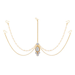 Traditional Gold Plated Bridal Chain with Pearl Layer Stone Mathapatti/Maang Tikka Jewellery for Women (T1083W)