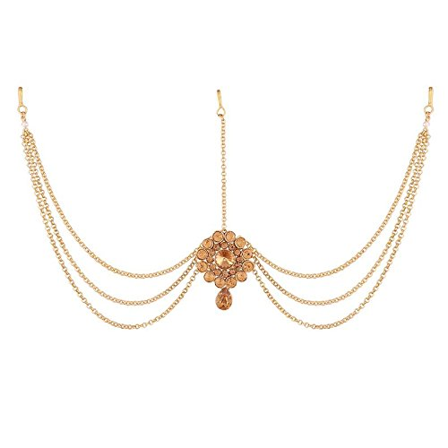 Traditional Gold Plated Hair Chain Maang Tikka for Women (T1108FL)