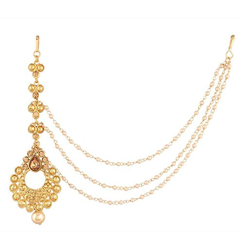 Traditional Gold Plated Pearl with Hair Chain Maang Tikka for Women (T1109FL)