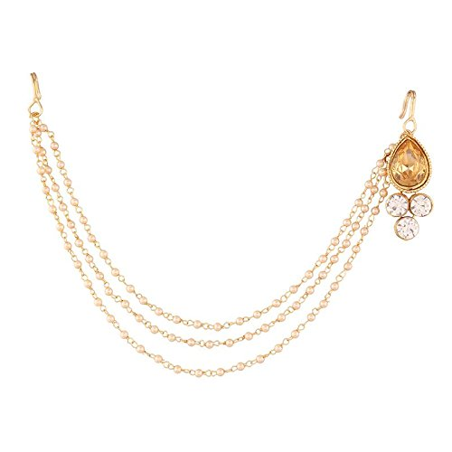 Gold Plated Mathapati/Maang Tikka with Pearl Chain for Women (T1110LW)