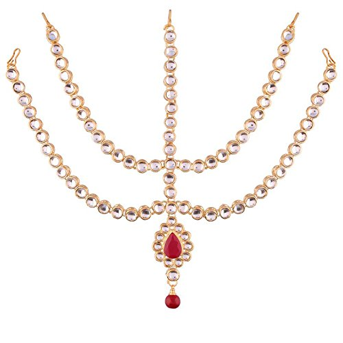 Traditional Gold Plated Kundan Maang Tikka for Women (T2001M)