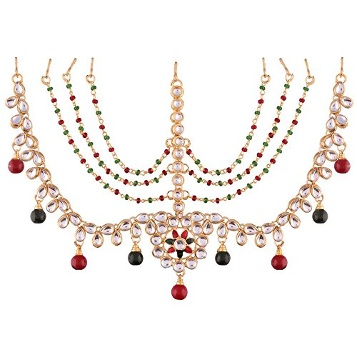 Gold Plated Multi-Colour Kundan Maang Tikka For Women (T2002Mg)