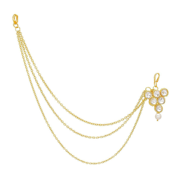 Gold Plated Pearl Mathapatti/Maang Tikka with Chain for Women (T2003W)