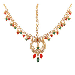 Gold Plated Traditional Kundan & Pearl Multi-Colour Matha Patti/Maang Tikka for Women (T2011MG)