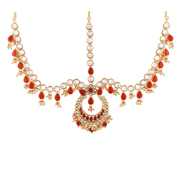 Gold Plated Traditional Kundan & Pearl Matha Patti/Maang Tikka for Women (T2012M)
