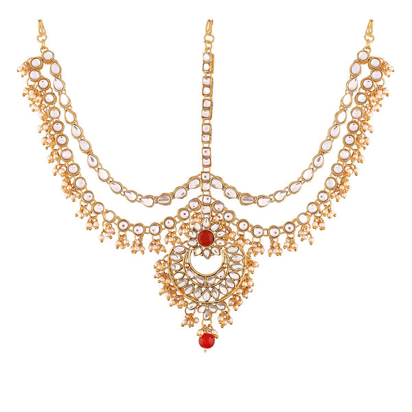 Gold Plated Traditional Kundan & Pearl Matha Patti/Maang Tikka for Women (T2014M)