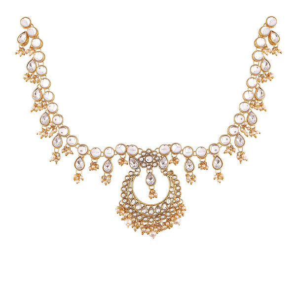 Gold Plated Traditional Kundan & Pearl Matha Patti/Maang Tikka for Women (T2015W)