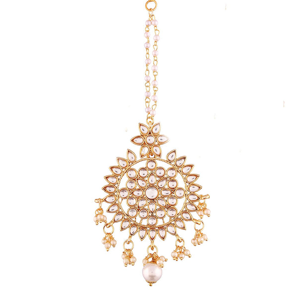Gold Plated Kalank Inspired Pearl Maang Tikka for Women (T2016W)
