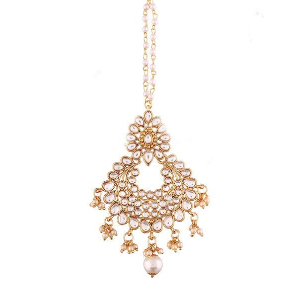 Gold Plated Kalank Inspired Pearl Maang Tikka for Women (T2017W)