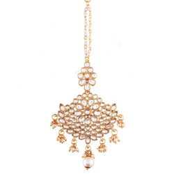 Gold Plated Kalank Inspired Pearl Maang Tikka for Women (T2018W)