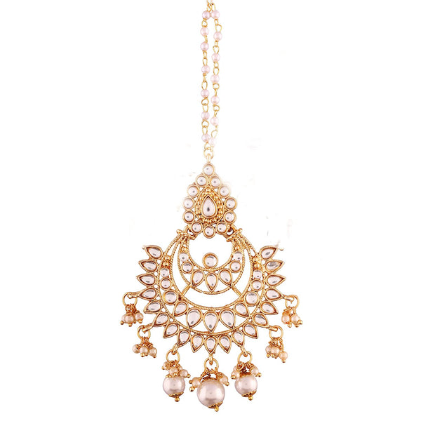 Gold Plated Kalank Inspired Pearl Maang Tikka for Women (T2019W)