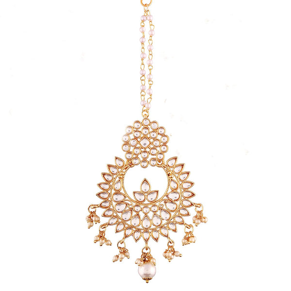 Gold Plated Kalank Inspired Pearl Maang Tikka for Women (T2020W)