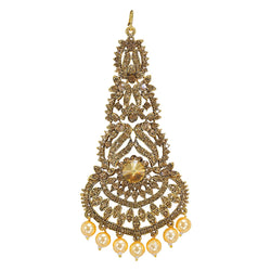 Gold Plated Kundan & Pearl Pasa/Hair Kalank Inspired Jewellery for Women (T2023FL)
