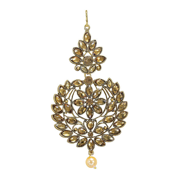 Gold Plated Kundan & Pearl Pasa Kalank Inspired Hair Jewellery for Women (T2025FL)
