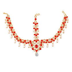 Gold Plated Kundan & Pearl Maang Tikka/Matha Patti for Women (T2029R)