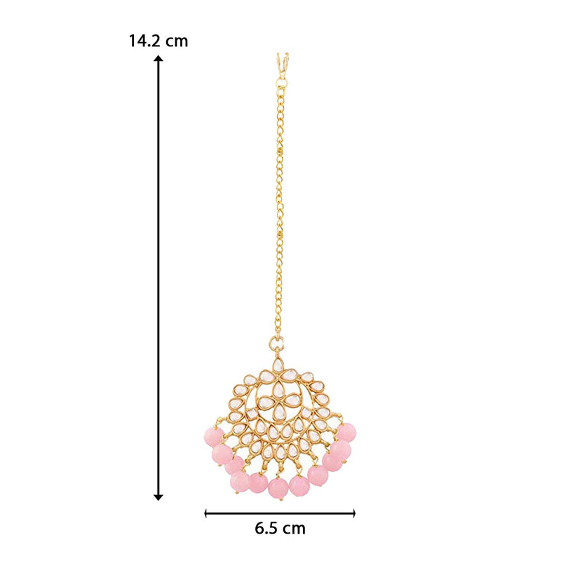 18K Gold Plated Traditional Kundan Studded with Pearls Maang Tikka for Women/Girls (T7058Pi)