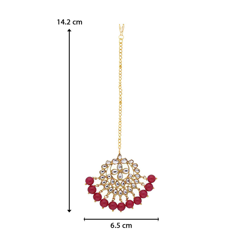 18K Gold Plated Traditional Kundan Studded with Pearls Maang Tikka for Women/Girls (T7058R)