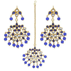 Traditional Blue Gold Plated Pearl and Kundan Maang Tikka with Earrings Set for Women