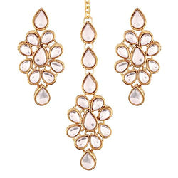 Traditional Gold Plated  Earring Set with Maang Tikka for Women