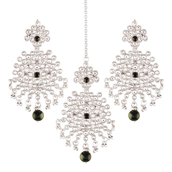 Traditional Silver Plated Kundan Pearl Earrings & Maang Tikka for Women