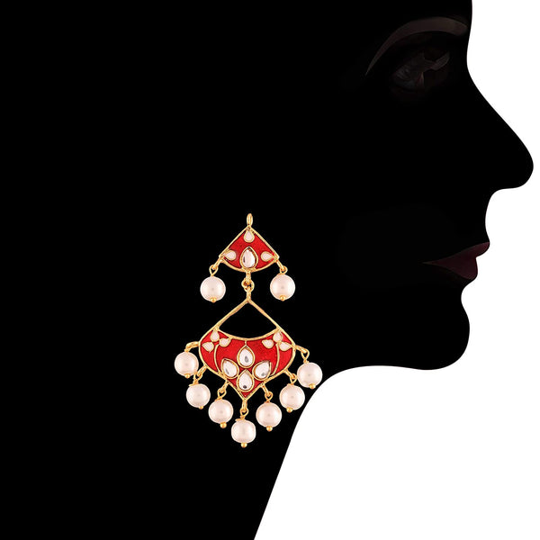 Traditional Gold Plated  Kundan Meenakari & Pearl Earrings & Maang Tikka Set for Women