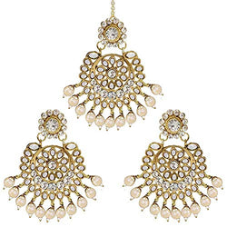 Traditional Gold Plated Pearl & Kundan Maang Tikka with Earring Set