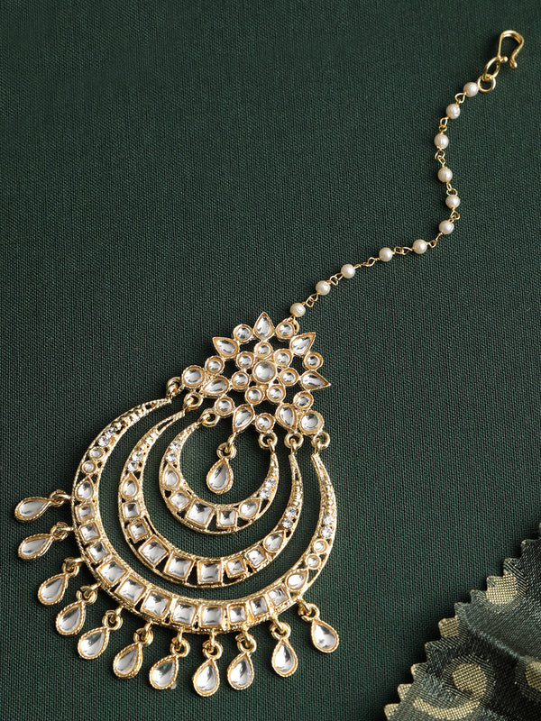 Gold Plated Traditional Kundan Bridal Maang Tikka For Women