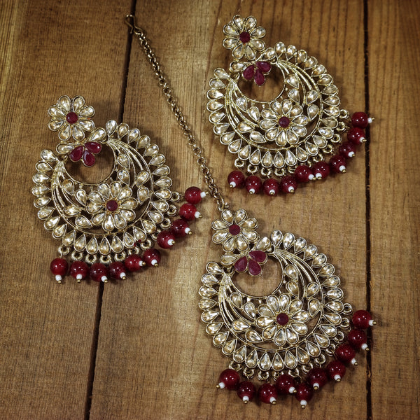 Traditional Kundan & Pearl Chandbali Earrings with Maang Tikka Set for Women/Girls (TE2800FLM)