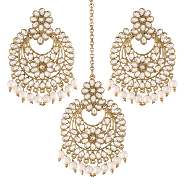 Traditional Kundan & Pearl Chandbali Earrings with Maang Tikka Set for Women/Girls (TE2800W)