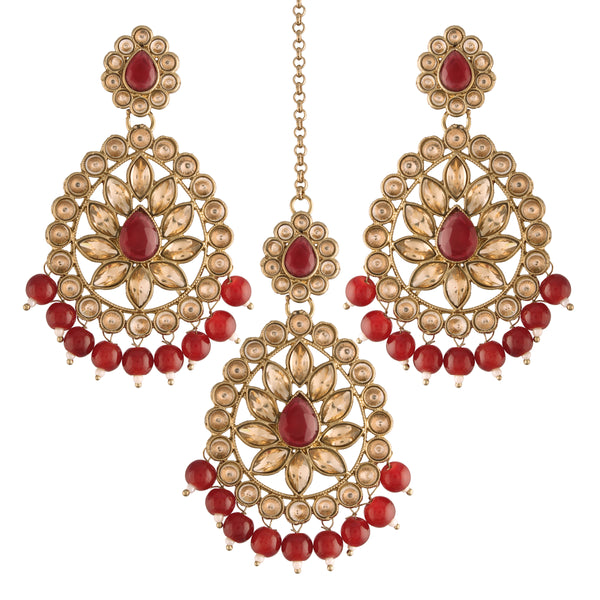 Gold Plated with Stunning Antique Finish Traditional Kundan & Faux Pearl Big Chandbali Bridal Earrings with Maang Tikka Set for Women/Girls (TE2801FLM)