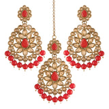 Gold Plated with Stunning Antique Finish Traditional Kundan & Faux Pearl Big Chandbali Bridal Earrings with Maang Tikka Set for Women/Girls (TE2801FLR)