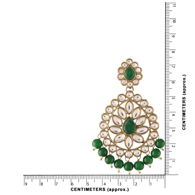 Gold Plated with Stunning Antique Finish Traditional Kundan & Faux Pearl Big Chandbali Bridal Earrings with Maang Tikka Set for Women/Girls (TE2801G)