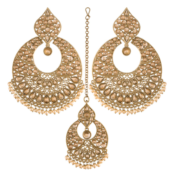 Gold Plated Traditional Handcrafted Chandbali Earrings Set with Maang Tikka Encased with Faux Kundan & Pearl for Women/Girls (TE2802FL)