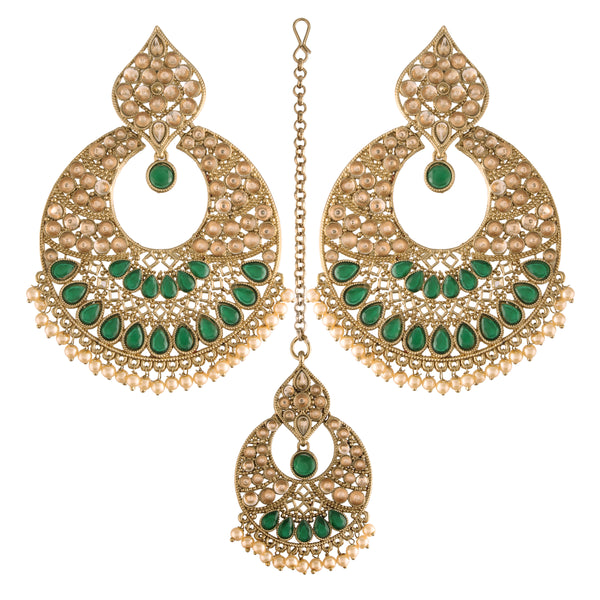 18K Gold Plated Traditional Handcrafted Chandbali Earrings Set with Maang Tikka Encased With Faux Kundan & Pearl For Women/Girls (TE2802G)