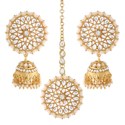 Traditional Gold Plated With Stunning Antique Finish Kundan & Pearl Jhumka Earrings With Maang Tikka for Women/Girls (TE2871W)