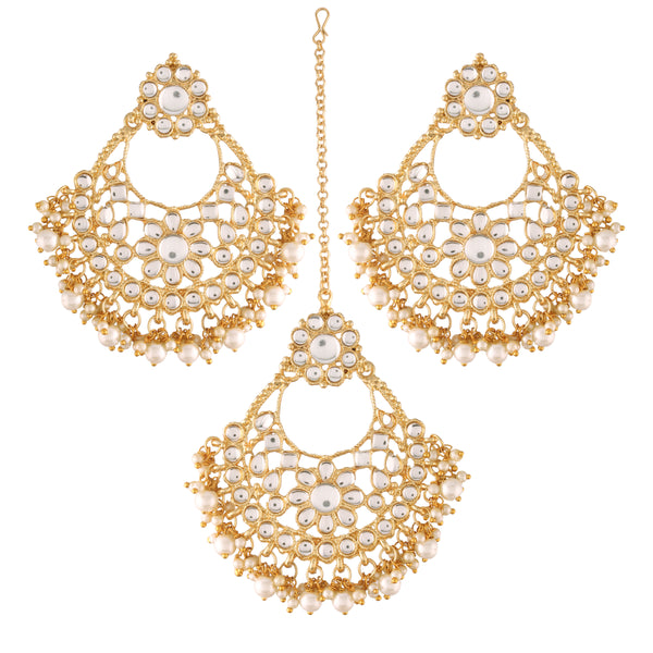 Gold Plated with Stunning Antique Finish Traditional Big Kundan & Pearl Chandbali Earrings with Maang Tikka Set for Women/Girls (TE2862W)