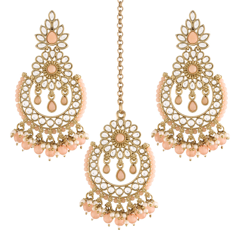 18K Gold Plated Traditional Handcrafted Earrings With Maang Tikka Encased with Faux Kundan & Pearl for Women/Girls