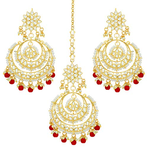 Traditional Gold Plated Chandbali Kundan & Pearl Earring Set with Maang Tikka for Women