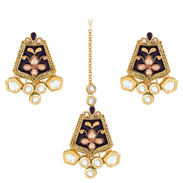 Traditional Gold Plated Kundan Meenakari Earrings with Maang Tikka for Women