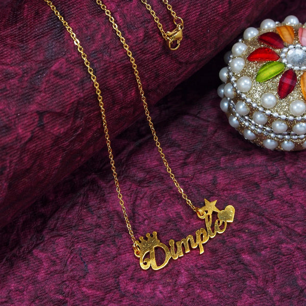 Gold Plated Personalized Name Necklace With Heart And Crown