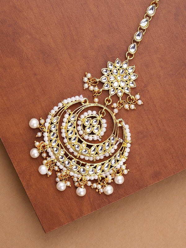 Gold Plated Traditional Kundan & Pearl Maang Tikka For Women