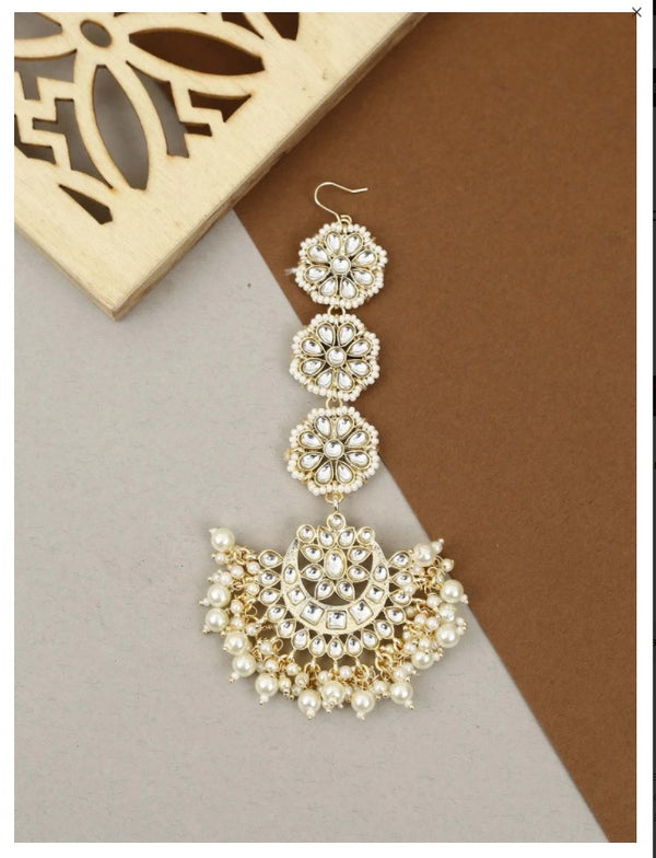 Gold Plated Traditional Matte Finish Floral Beaded Manng Tikka Studded with Kundan & Faux Pearls for Women/Girls(T2860W)