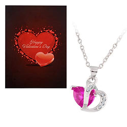 Silver Plated Valentines Special Heart Shaped Crystal CZ Pendant with Chain with Valentine's Special Greeting Card for Women (CH27QCA)
