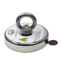 "1,200 LBS PULLING FORCE, 4.72"" DIAMETER - ROUND NEODYMIUM MAGNET WITH COUNTERSUNK HOLE AND EYEBOLT"