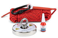 "BRUTE BOX SINGLE SIDED 1,200 LB MAGNET FISHING BUNDLE (4.72"" MAGNET + ROPE + GLOVES + CARABINER + THREADLOCKER)"