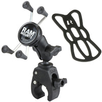 RAM Mount Small Tough-Claw™ Base w/Short Double Socket Arm and Universal X-Grip® Cell/iPhone Cradle RAM-B-400-A-HOL-UN7BU